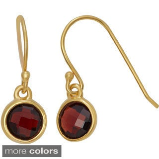 Gold Plated Sterling Silver 6mm Checkerboard Gemstone Dangle Earrings