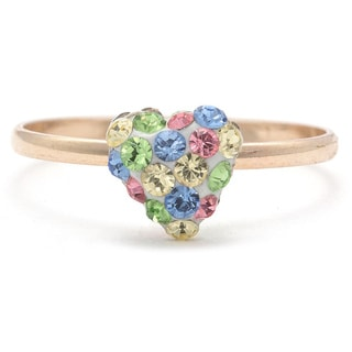 Junior Jewels 10k Gold Multi-crystal Heart Ring (Size 3)