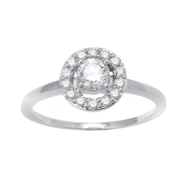 Beverlly Hills Charm Gold Tdw Round Diamond Halo