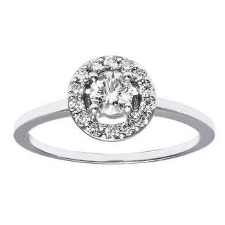 Beverlly Hills Charm 14k Gold 1/2ct TDW Diamond Round Halo Engagement Ring (H-I, SI2-I1)