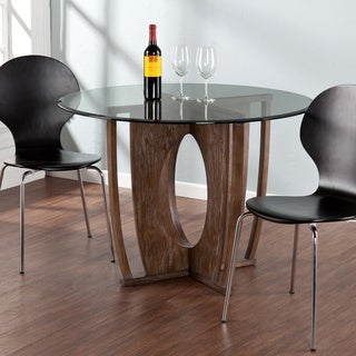Upton Home Andrea Glass and Wood Round Dining Table
