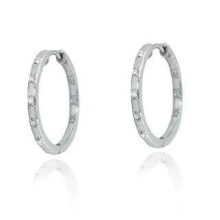 Sterling Silver 1/5ct TDW Diamond High Polish Hoop Earrings (H-I, I2-I3)
