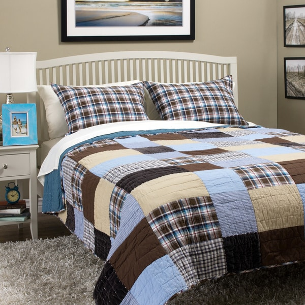 Jace Blue/ Brown Mixed Patchwork Cotton Quilt Set