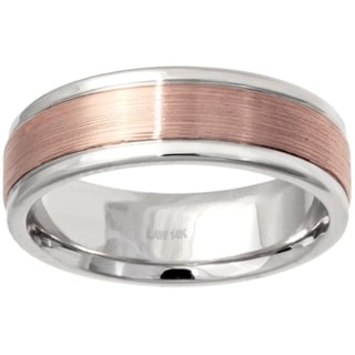 14k Two-tone Gold Men's Comfort-fit Handmade Wedding Band