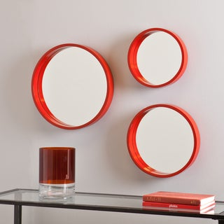 Holly and Martin Daws Red-Orange Wall Mirror 3pc Set