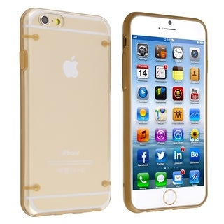 INSTEN Clear Hard/ Gold TPU Bumper Case Cover for Apple iPhone 6 4.7-inch