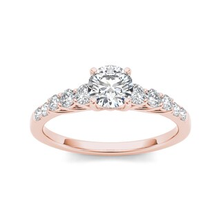 De Couer 14k Rose Gold 1ct TDW Diamond Engagement Ring (H-I, I2)