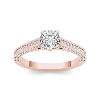 De Couer 14k Rose Gold 1 1/4ct TDW Diamond Engagement Ring (H-I, I2)