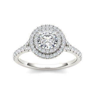 De Couer 14k White Gold 1ct TDW Diamond Double Halo Engagement Ring (H-I, I2) with Bonus Necklace