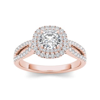 De Couer 14k Rose Gold 1 1/5ct TDW Diamond Engagement Ring (H-I, I2)