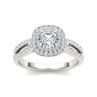 De Couer 14k White Gold 1 1/5ct TDW Diamond Halo Side Stone Ring (H-I, I2)