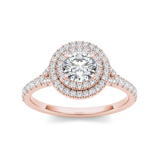 De Couer 14k Rose Gold 1ct TDW Double Diamond Halo Engagement Ring (H-I, I2) with Bonus Necklace