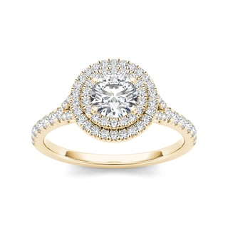 De Couer 14k Yellow Gold 1ct TDW Diamond Engagement Ring (H-I, I2)