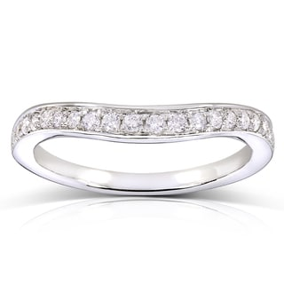 Annello 14k White Gold 1/5ct TDW Diamond Curved Wedding Band Ring (H-I, I1-I2)