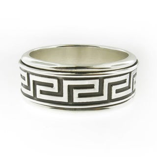 Hand-crafted Sterling Silver Men's Antique Greek Key Spinner Band (Mexico)
