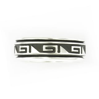 Handcrafted Sterling Silver Men's Antiqued Tribal Pattern Spinner Band (Mexico)