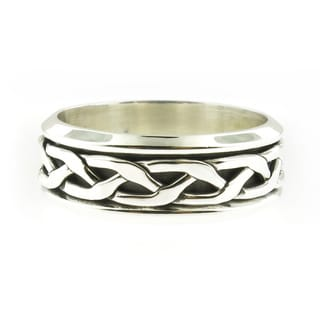 Handcrafted Sterling Silver Men's Antiqued Braided Rope Spinner Band (Mexico)