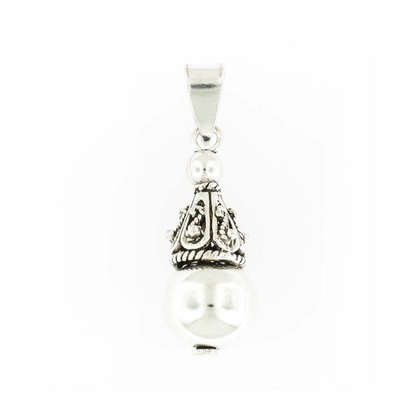 Handmade Sterling Silver Antiqued Raindrop Pendant (Thailand)