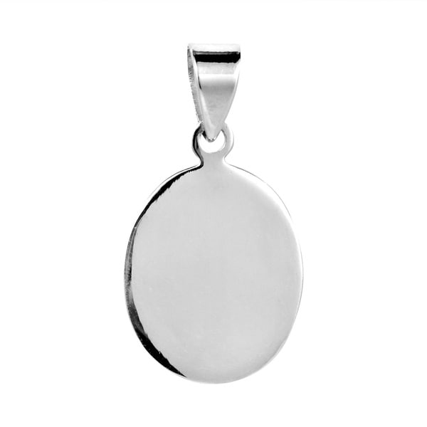 Engravable Simple Oval Sterling Silver Pendant (Thailand)