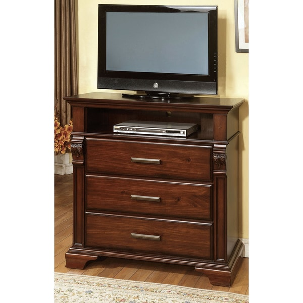 Furniture of America Eminell Antique Walnut 3-drawer Media Chest
