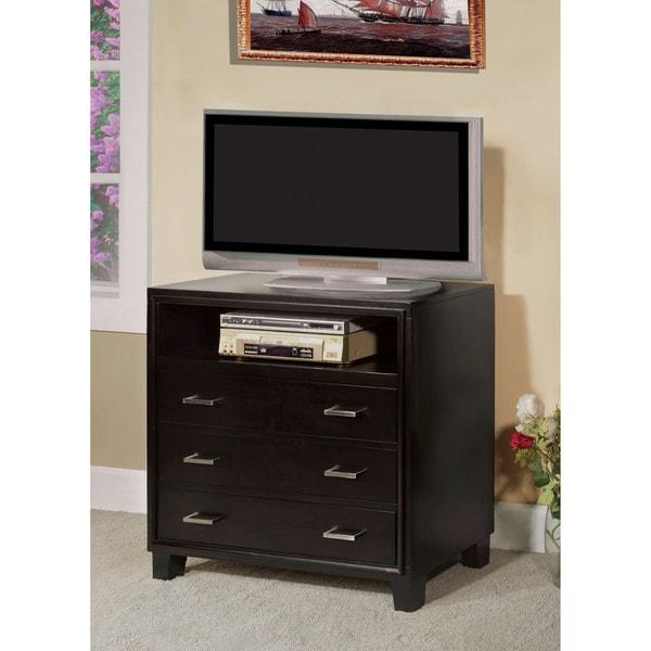 Furniture of America Elrich Modern Espresso 3-Drawer Media Chest