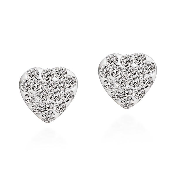 Sparkling Heart Cubic Zirconia .925 Silver Stud Earrings (Thailand)