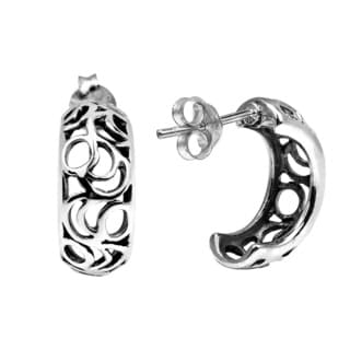 Alluring Half Moon .925 Sterling Silver Crescent Earrings (Thailand)