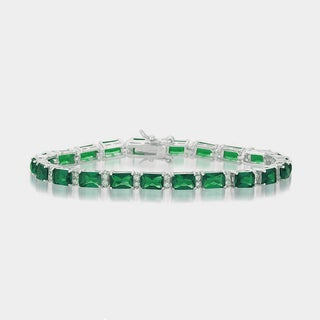 Collette Z Sterling Silver Green and White Cubic Zirconia Emerald-cut Tennis Style Bracelet