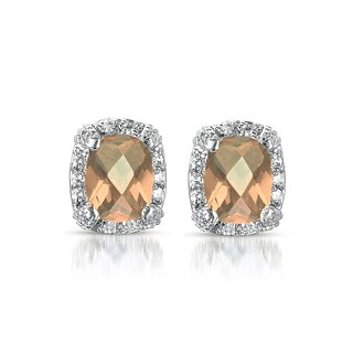 Collette Z Sterling Silver Champagne Cubic Zirconia Square Earrings