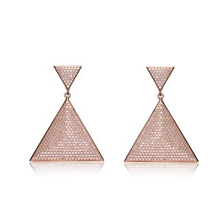 Collette Z Rose Goldplated Sterling Silver Cubic Zirconia Pave-set Large Triangle Earrings