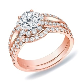 Auriya 14k Rose Gold 1 1/2ct TDW Round Diamond Halo Bridal Set (H-I, SI1-SI2)
