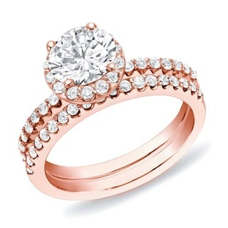 Auriya 14k Rose Gold 1 1/4 ct TDW Round Diamond Halo Bridal Ring Set (H-I, SI1-SI2)