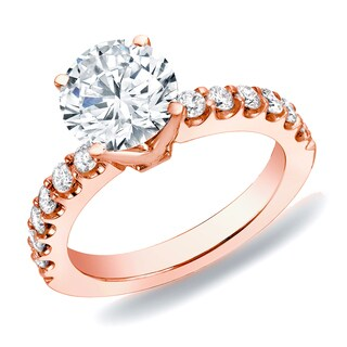 Auriya 14k Rose Gold 1ct TDW Diamond Solitaire Engagement Ring (H-I, SI1-SI2)