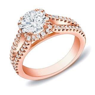 Auriya 14k Rose Gold 1 1/4 ct TDW Round Certified Diamond Engagement Ring (H-I, SI1-SI2)