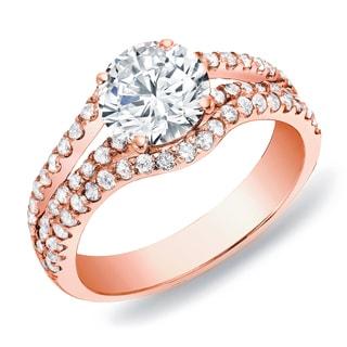 Auriya 14k Rose Gold 1ct TDW Round Diamond Multi Row Engagement Ring (H-I, SI1-SI2)