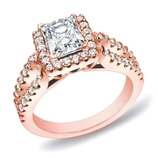 Auriya 14k Rose Gold 1 3/4ct TDW Certified Princess Halo Diamond Engagement Ring (H-I, SI1-SI2)