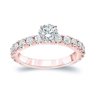 Auriya 14k Rose Gold 1 1/2 ct TDW Round Diamond Solitiare Engagement Ring (H-I, SI1-SI2)