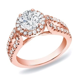 Auriya 14k Rose Gold 1 1/4 ct TDW Round Halo Diamond Engagement Ring (H-I, SI1-SI2)
