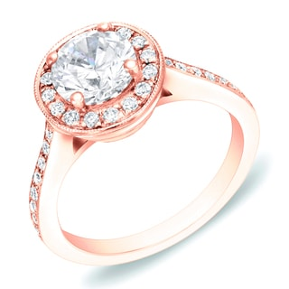 Auriya 14k Rose Gold 1 3/5 ct TDW Certified Round Halo Diamond Engagement Ring (H-I, SI1-SI2)