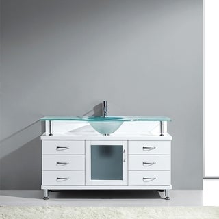 Virtu USA Vincente 55-inch Single Frosted Glass Sink White Bathroom Vanity