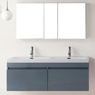 Virtu USA Zuri 55-inch Grey Double Sink Bathroom Vanity Set