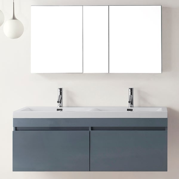 Virtu Usa Zuri Five Inch Grey Double Sink Bathroom Vanity Set Free Shipping Today Overstock