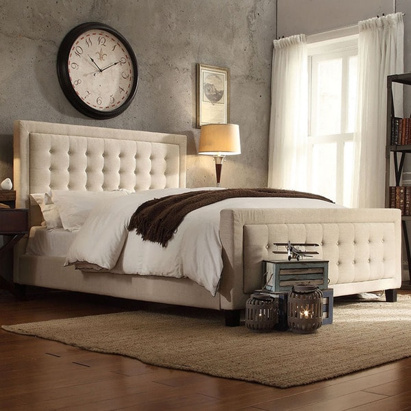 INSPIRE Q Bellevista Beige Linen Button-tufted Square Upholstered Bed