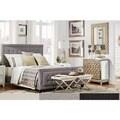 INSPIRE Q Bellevista Beige Linen Button-tufted Square Upholstered Bed