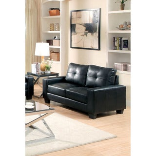 Furniture of America Dresford Tufted Black Bonded Leather Match Loveseat