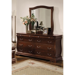 Furniture of America Rowland Dark Walnut 2-Piece Dresser and Mirror Set