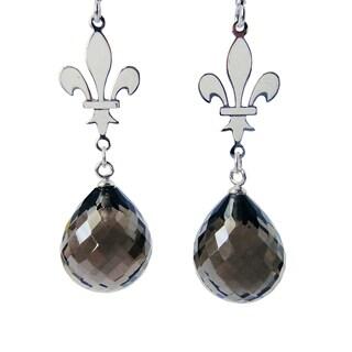 .925 Sterling Silver Smokey Quartz Gemstone Dangle Earrings