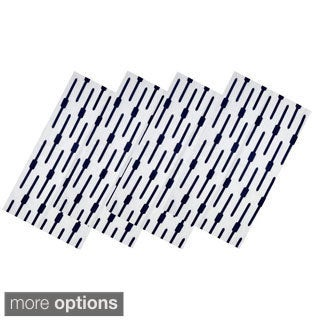 Navy Geo Cotton Table Linens (India)