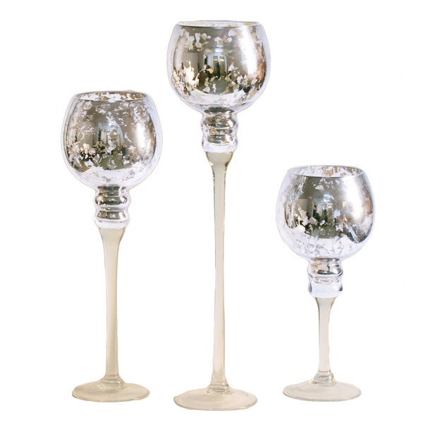 3-piece Silver Mercury Glass Stem Vase Set