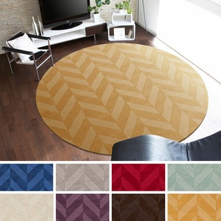 Artistic Weavers Hand-woven 6-foot Ann Tone-on-Tone Geometric Zig-Zag Round Wool Area Rug
